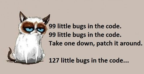 a meme about fixing bugs